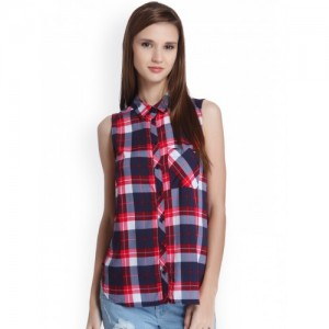 ONLY Women Blue & Pink Checked Casual Shirt