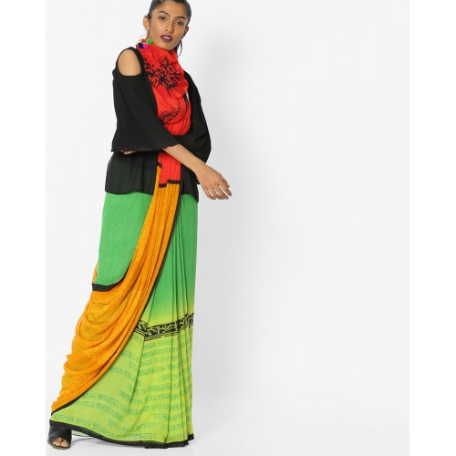 Florence Printed Colourblock Saree with Blouse