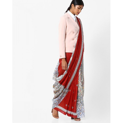 Hitansh Printed Saree with Contrast Border