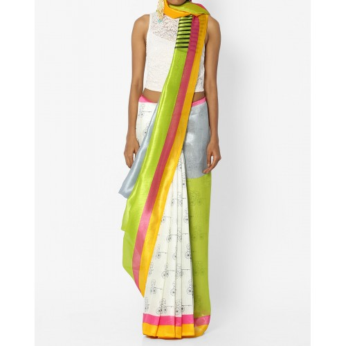 Florence Printed Saree with Contrast Border