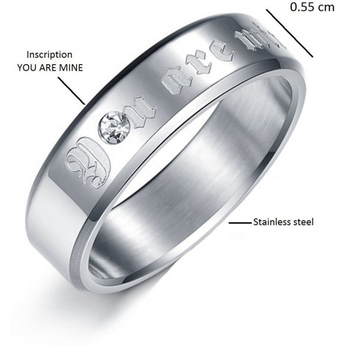 Aaishwarya Silver Plated Promise Band Stainless Steel Crystal Ring