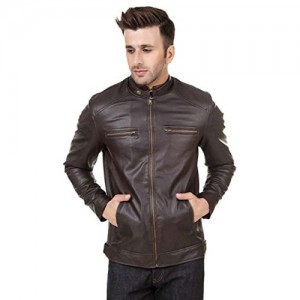 Zacharias Brown Pu Faux Leather Full Sleeves Jacket