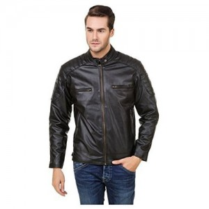 Zacharias Black Solid Pu Faux Leather Full Sleeves Jacket