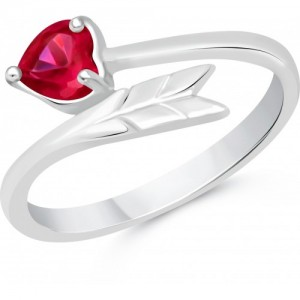 VK Jewels Cupid's Arrow Alloy Cubic Zirconia Rhodium Plated Ring