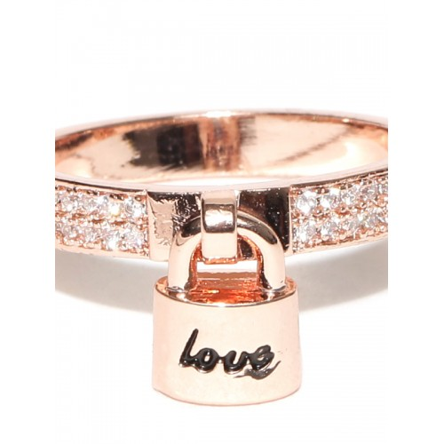 Jewels Galaxy 18K Rose Gold-Plated Stone-Studded Ring