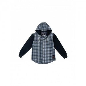 Gini and Jony Boys White & Navy Checked Hooded Casual Shirt