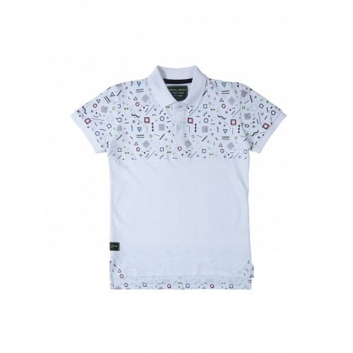 Gini and Jony Boys Off-White Printed Polo Collar T-shirt