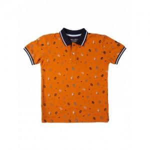Gini and Jony Boys Orange Printed Polo Collar T-shirt