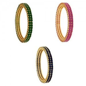 M CREATION Trendy COMBO Of Green, Ruby & Blue CZ Copper Bangles For Women