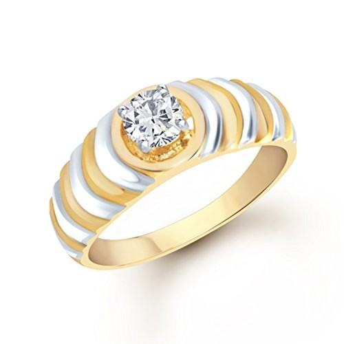 VK Jewels Splendid Gold and Rhodium Plated (CZ) Solitaire Ring - FR1090G [VKFR1090G]