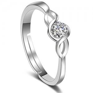 Karatcart Platinum Plated Adjustable Ring For Women