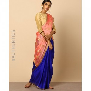 Indie Picks Pure Mysore Silk Crepe Saree with Zari Buti and Border