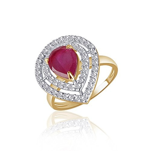 VK Jewels Divine Ruby Gold and Rhodium Plated Ring - FR1120G [VKFR1120G]