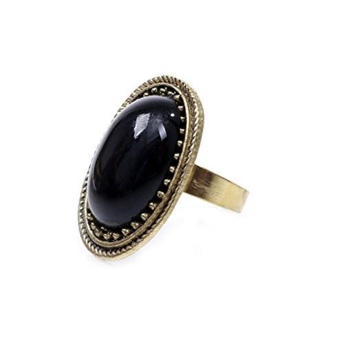 Bold N Elegant Antique Sansa Stark Game of thrones Inspired Black Stone Rhinestone Gem Inlaid Adjustable Retro Ring