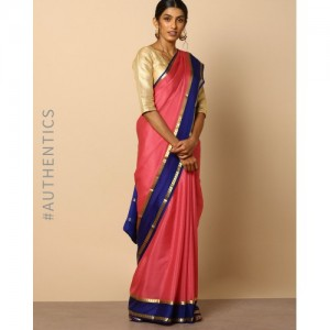 Indie Picks Pure Mysore Silk Crepe Saree with Zari Border