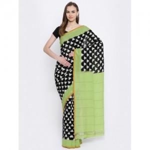 gocoop Black & White Pure Cotton Printed Pochampally Handloom Saree
