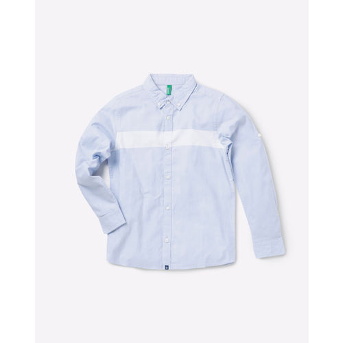 c08516a97 ... United Colors of Benetton Boys Blue Regular Fit Solid Casual Shirt ...
