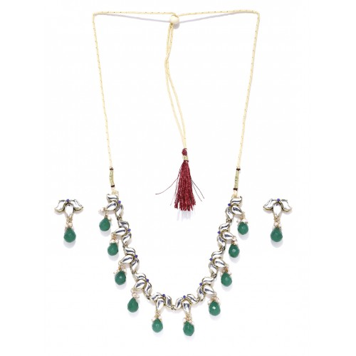 Zaveri Pearls Gold-Toned & Green Jewellery Set