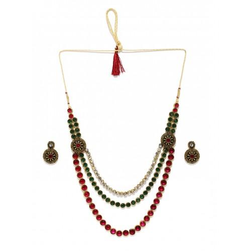 Zaveri Pearls Multicoloured Embellished Jewellery Set