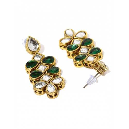 Zaveri Pearls Antique Gold-Toned & Green Jewellery Set