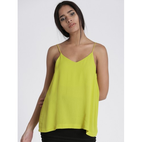 9ff7841a3ed35 Buy Chemistry Women Lime Green Solid Top online