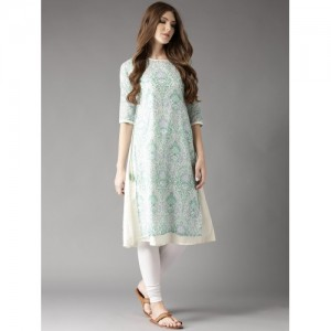 HERE&NOW Women White & Green Printed Layered A-Line Kurta