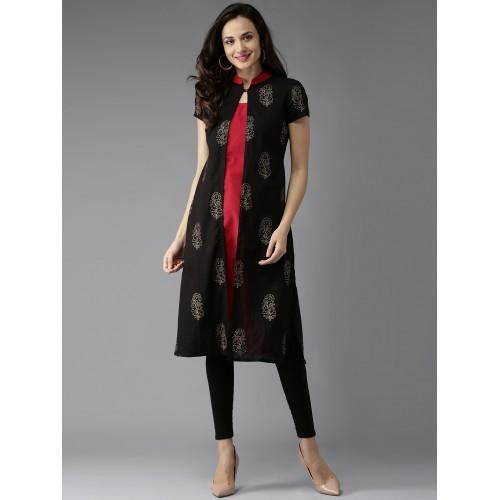 HERE&NOW Women Black & Red Printed Layered A-Line Kurta