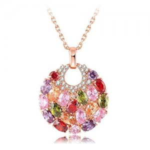 Yellow Chimes Rose Gold Plated Swiss Zircon Exquisite 18K Real Pendant for Women