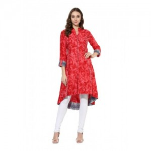 Mytri Mytri Women's Pink Rayon Printed High-Low Stitched Kurta