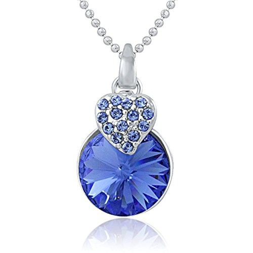 7761bc29da48 ... Mahi Made with Swarovski Elements Rhodium Plated Blue Pendant with Chain  for Women PS1194089RBlu ...