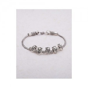 Voylla Lion Motif Silver Plated Oxidized Link Anklet