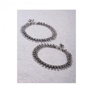 Voylla Stylish Zinc Anklets With Oxidised Plating