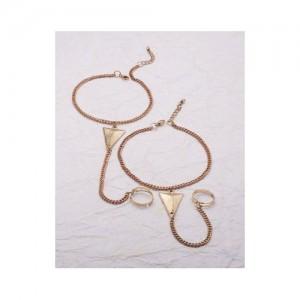 Voylla Gold Tone Toe Ring Trendy Anklet Pair
