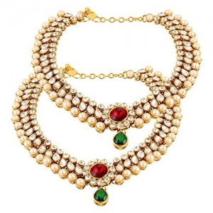 Shining Diva Traditional Jewellery Gold Plated Kundan Payal Anklets For Girls and Women