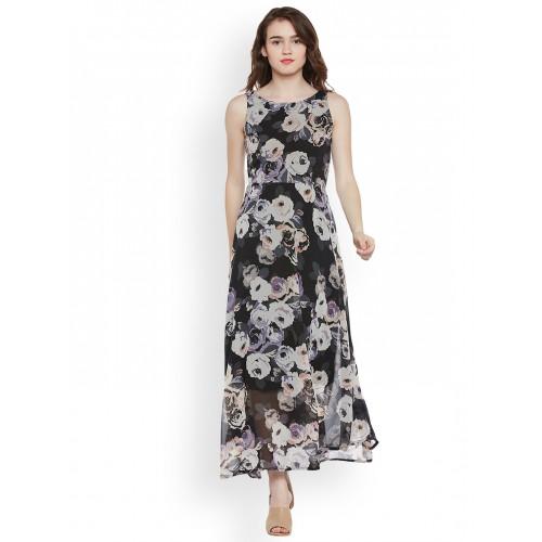27d10a4cd Buy Latin Quarters Women Black Printed Maxi Dress online ...