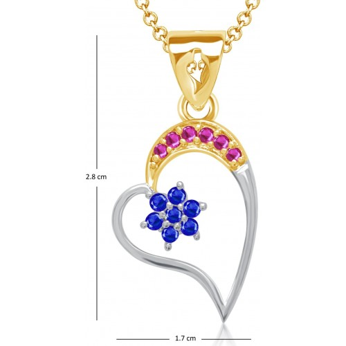 VK Jewels Star In Heart Yellow Gold Cubic Zirconia Alloy Pendant