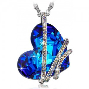 Sansar India Blue Crystal Heart Pendant Romantic Silver Alloy Pendant