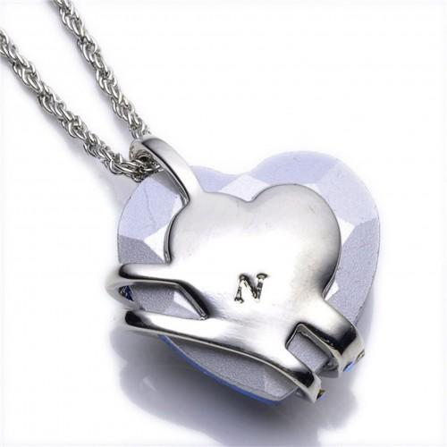Sansar India Blue Crystal Heart Pendant Romantic Silver Alloy Pendant