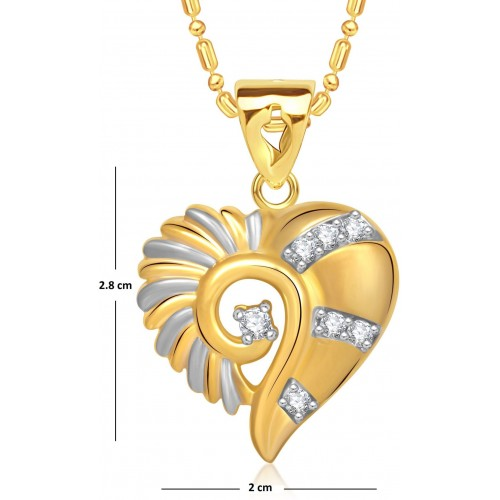 VK Jewels Stone in Heart Yellow Gold Cubic Zirconia Alloy Pendant