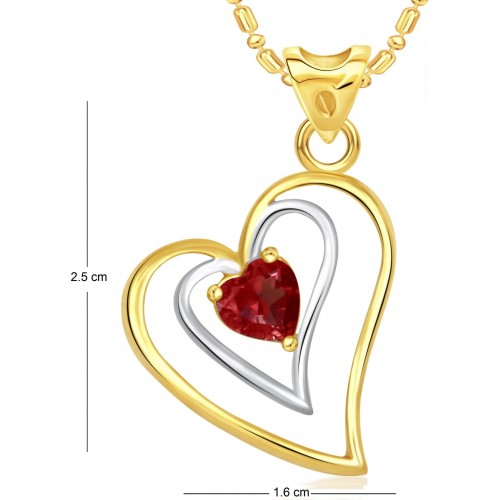 VK Jewels Red Stone in Heart Valentine Cubic Zirconia Alloy Pendant