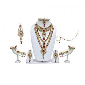 Lucky Jewellery Red Kundan Bridal Jewellery Set For Women