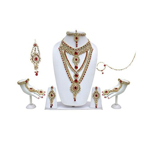 Lucky Jewellery Red Kundan Bridal Jewellery Set For Women
