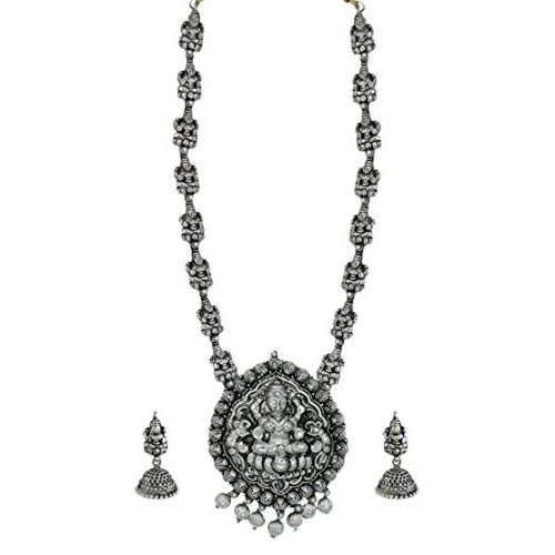 Zaveri Pearls Dark Antique Oxidised Temple Necklace Set For Women - ZPFK5989