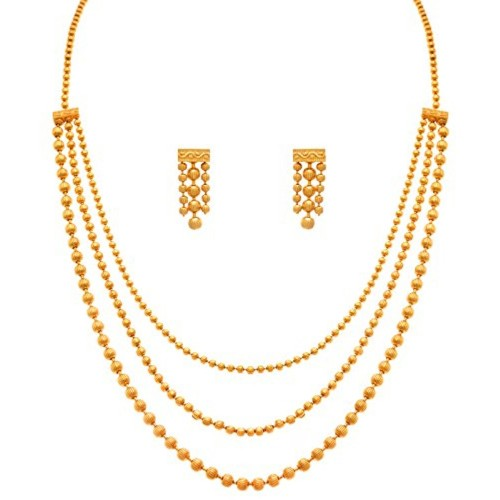 Jfl Jewellery For Less One Gram Gold Plated Bead Necklace With Earrings Set