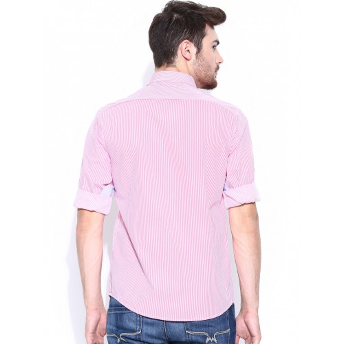 8a349e4840 ... Wills Lifestyle Men Pink & White Striped Slim Fit Casual Shirt ...