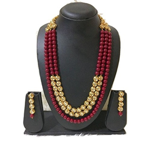 Bridal collection Kundan Stone Faux Pearl Rani Haar Style Necklace for women and girls