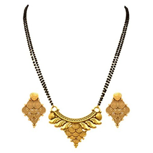 Jfl Jewellery For Less Traditional Ethnic One Gram Gold Plated Spiral Mangalsutra With Earring And