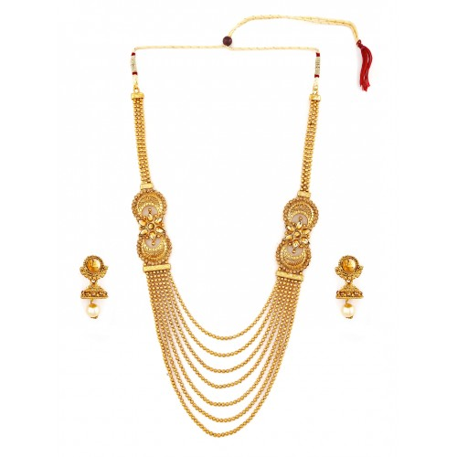 Zaveri Pearls Gold-Toned Multistranded  Jewellery Set