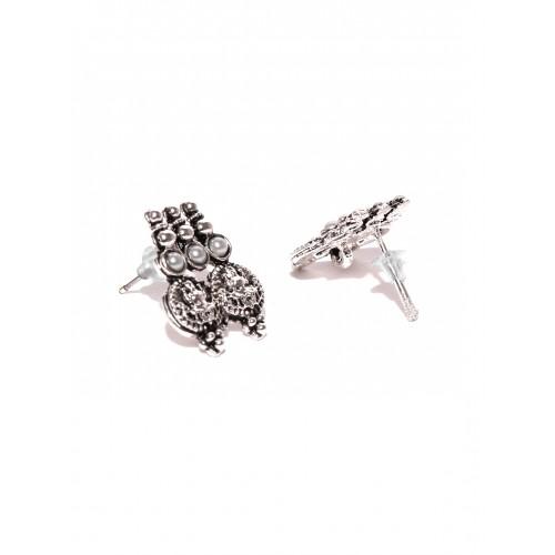 Zaveri Pearls Oxidised Silver-Toned Temple Jewellery Set
