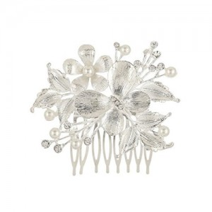 Prita's Party Wear Sliver Floral Stone Hair Clip For Girls & Women Hair Accessories